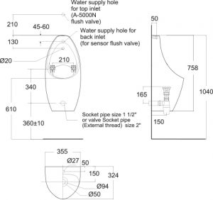 Contour Urinal Tf 6727 Wasser Werkz Pa